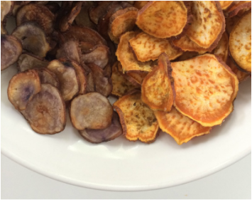 Baked sweet & purple potato chips